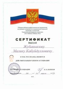 Сертификат от 16 апреля 2013 г.